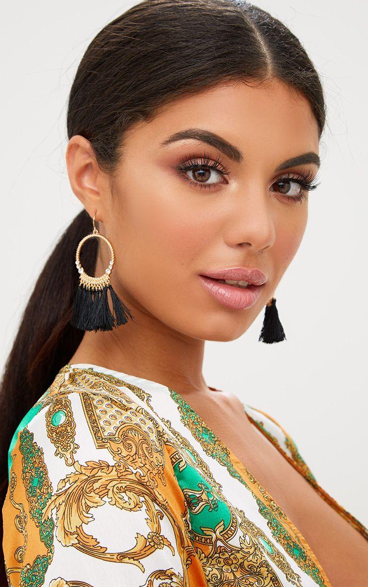 Gold Hoop Tassel Earring