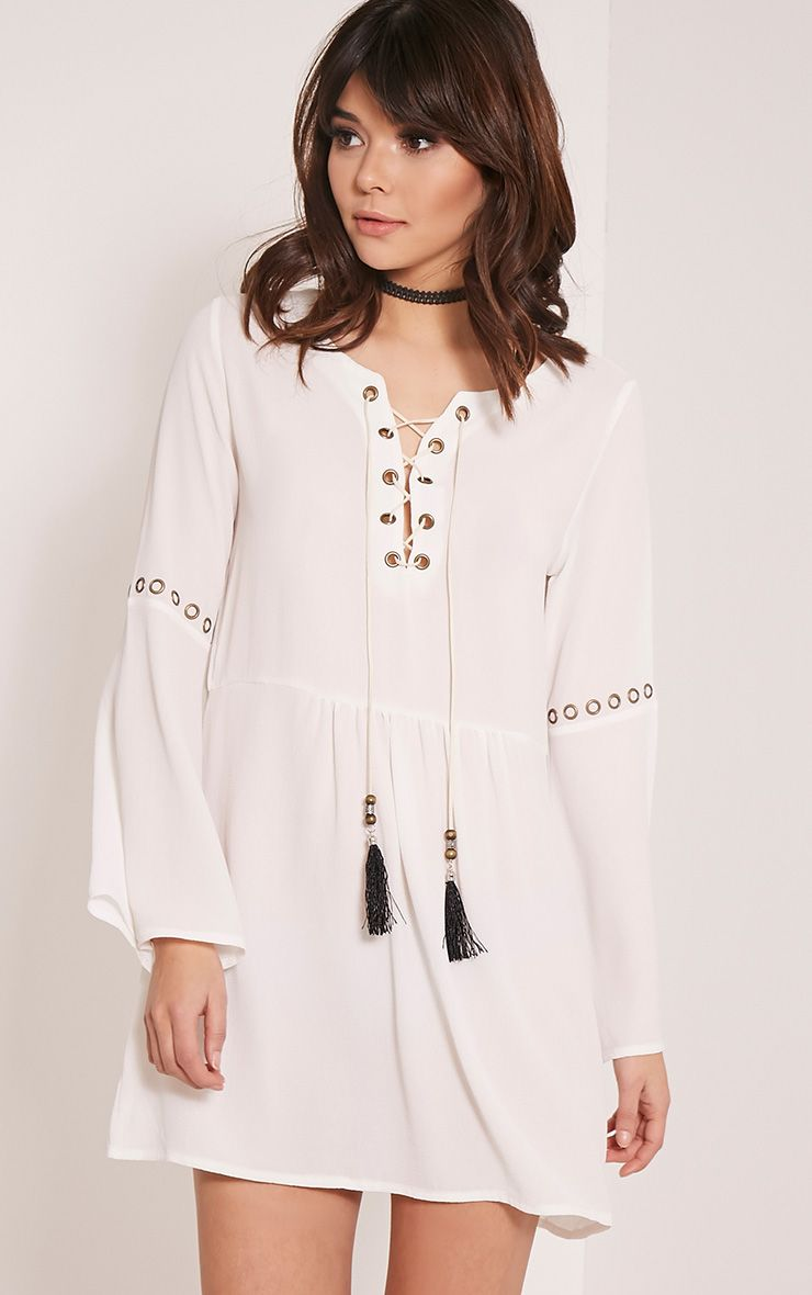 Adelynn White Crepe Lace Up Shift Dress