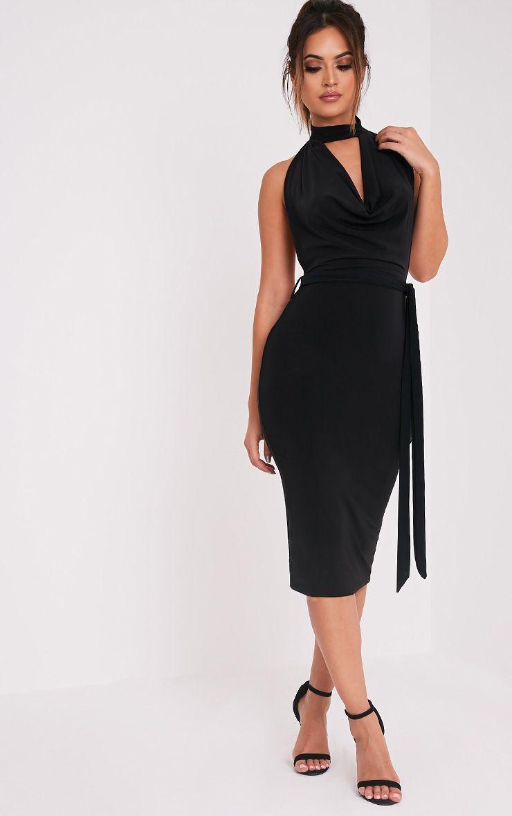 Carllia Black Slinky Choker Neck Cowl Midi Dress Black