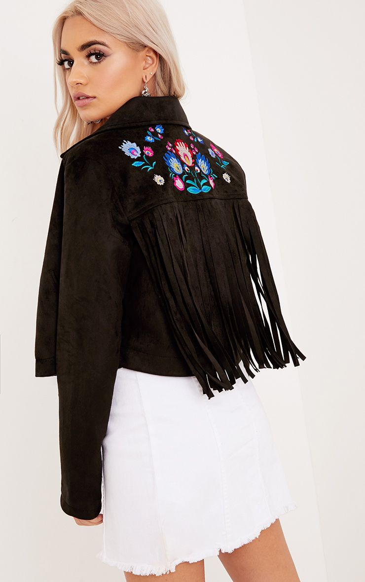 Shilla Black Faux Suede Embroidered Detail Biker