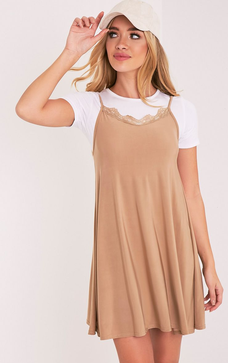 Meja Camel Lace Trim Cami Swing Dress