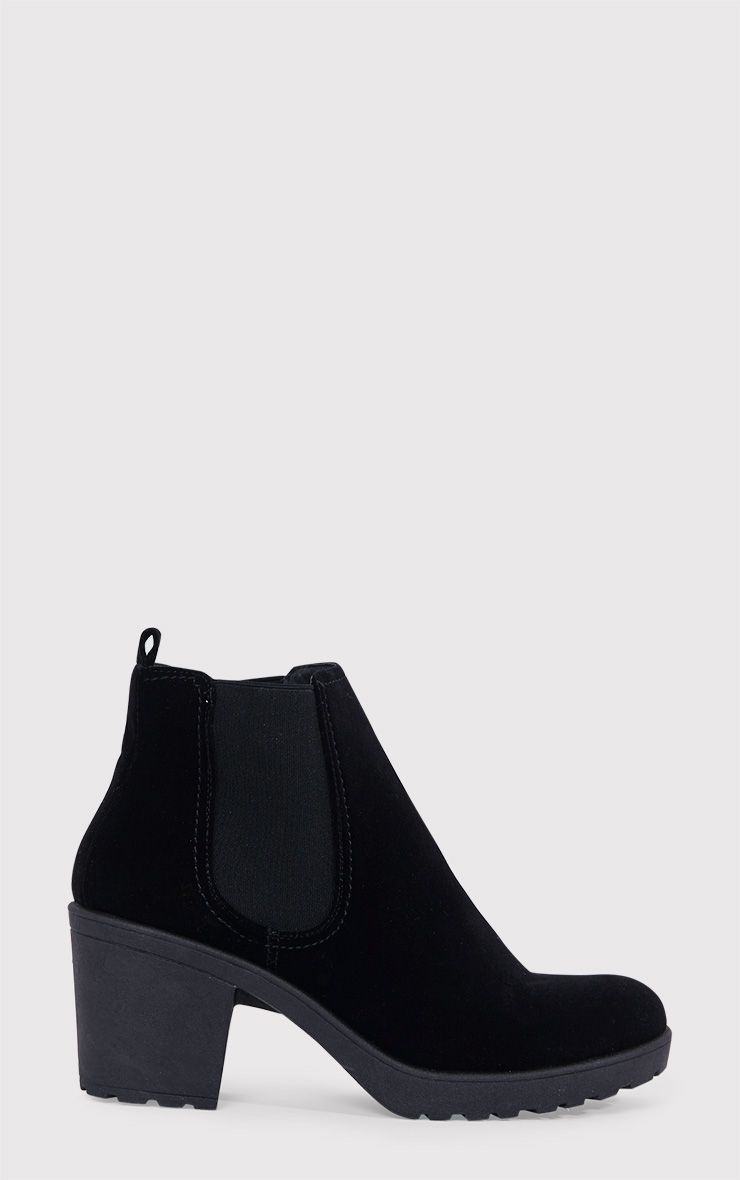 Daria Black Faux Suede Heeled Ankle Boots