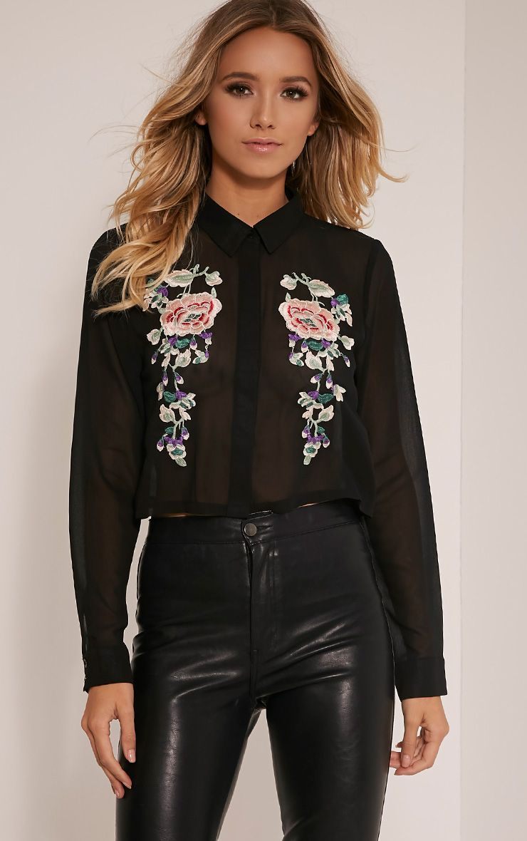 Esther Black Embroidered Cropped Chiffon Shirt 1