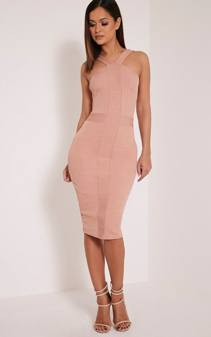 Meryl Nude Bandage Strap Detail Bodycon Dress