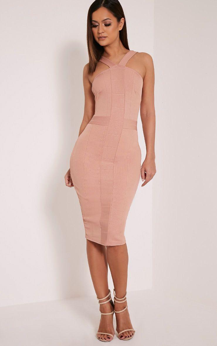 Meryl Nude Bandage Strap Detail Bodycon Dress 1