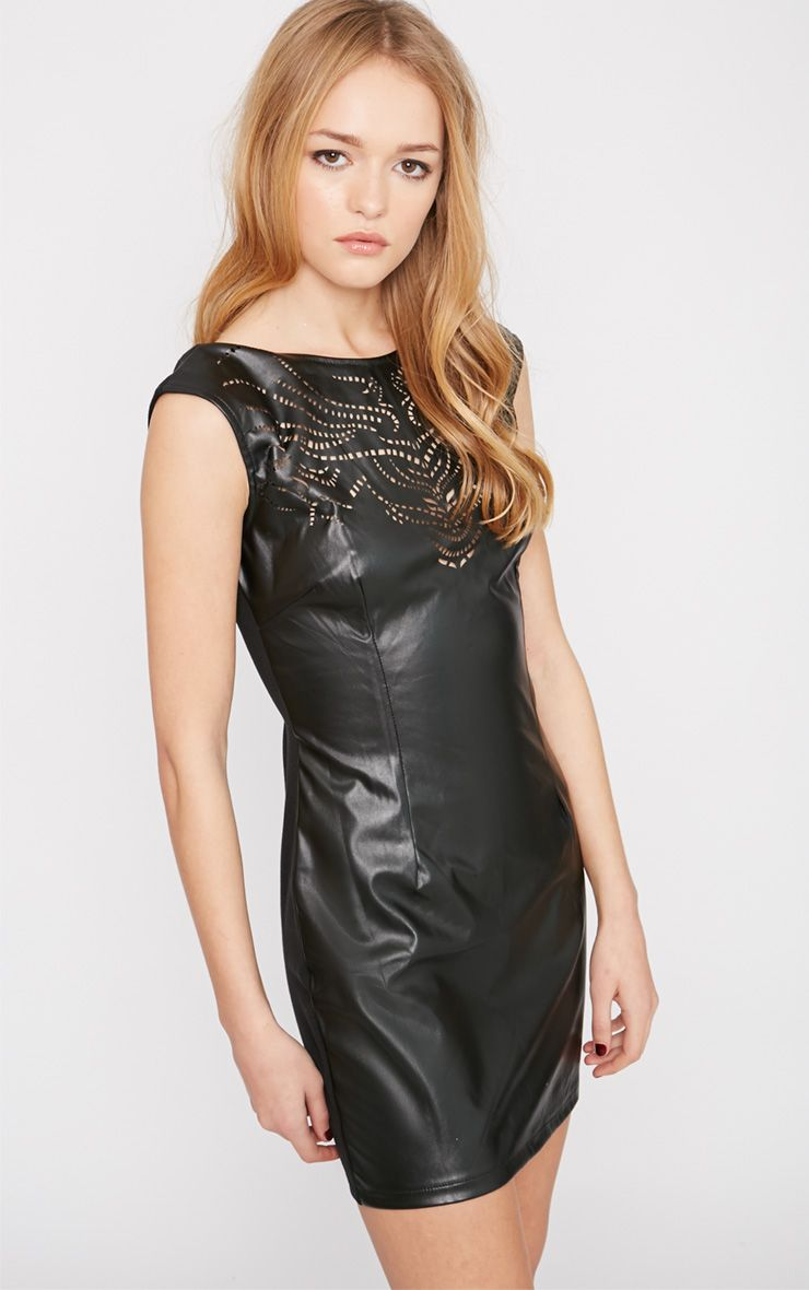Kasa Black Leather Laser Cut Bodycon Mini Dress 1