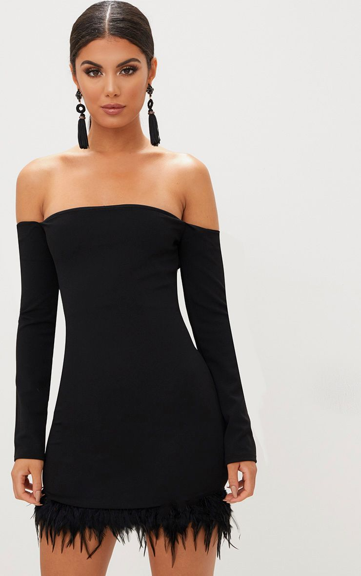 Black Feather Trim Bardot Bodycon Dress