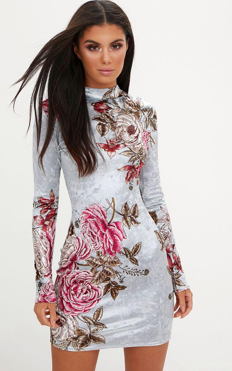 Grey Long Sleeve Floral Velvet Bodycon Dress