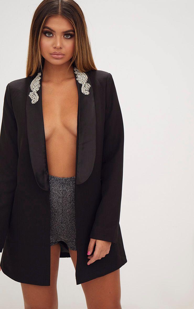 Black Embellished Applique Detail Oversized Blazer