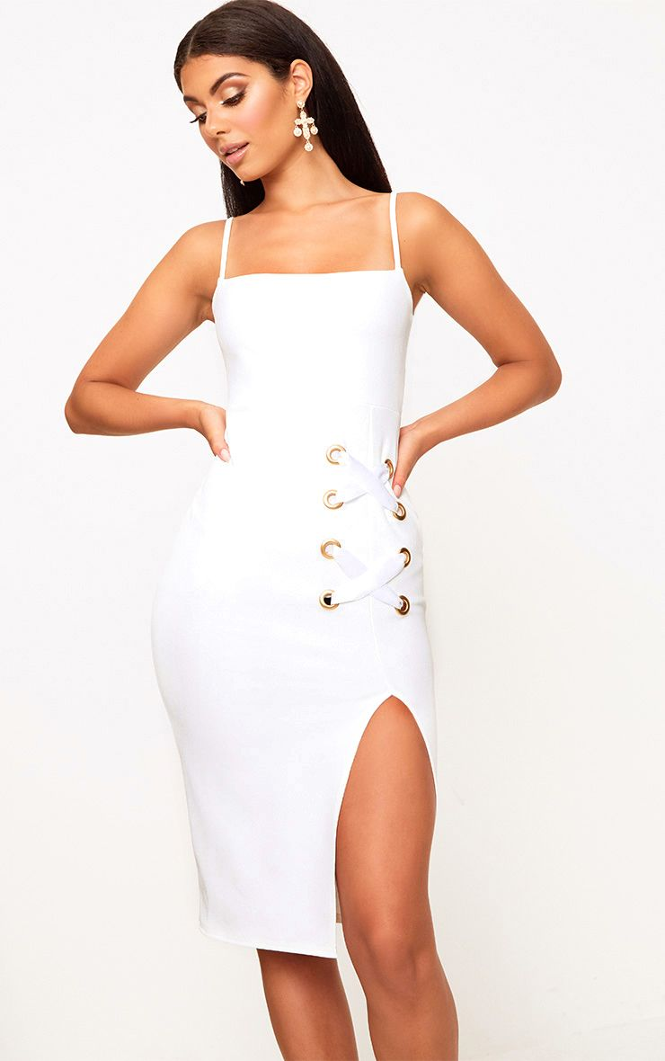 White Eyelet Satin Lace Up Detail Midi Dress