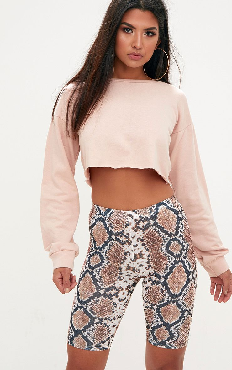 Taupe Snake Print Cycle Shorts
