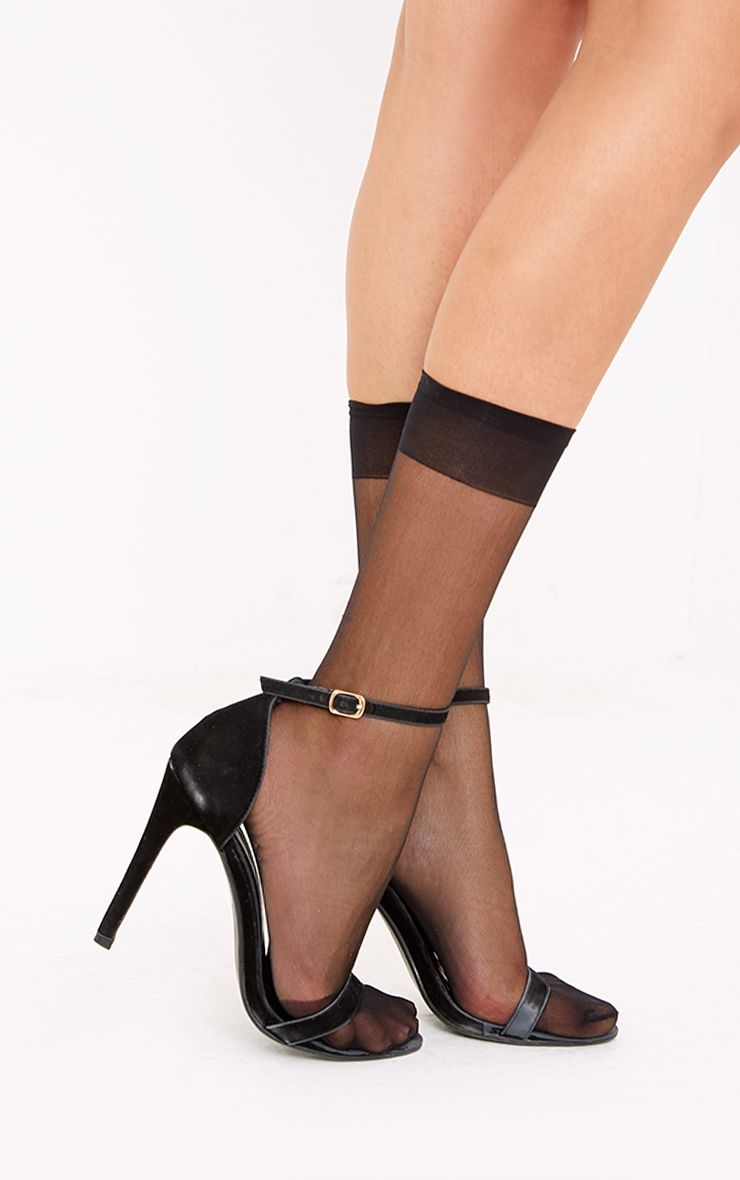 3 Pack Of Sheer Black Ankle Socks