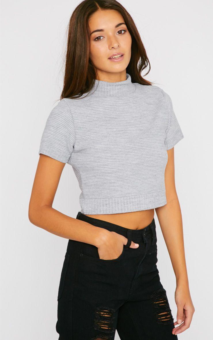 Basic Grey Knit Turtle Neck Crop Top 1