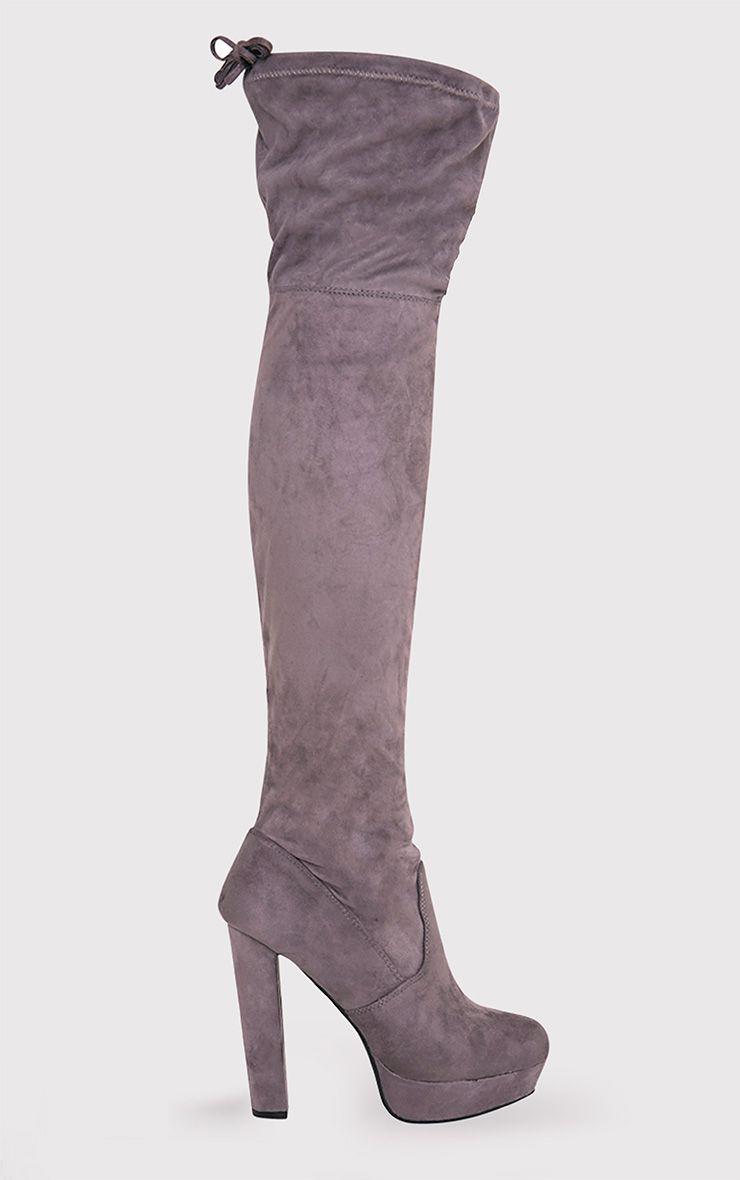 Elisabeth Grey Faux Suede Platform Thigh High Boots 1
