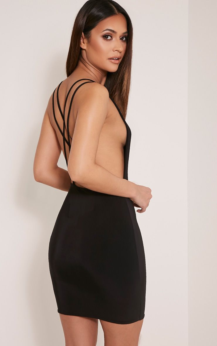 Dacey Black Double Cross Back Bodycon Dress 1