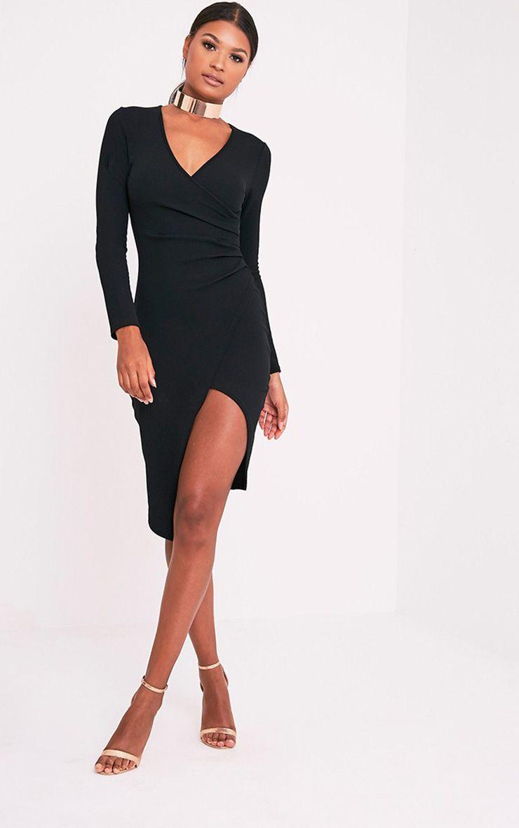 Rosie Black Long Sleeve Wrap Front Midi Dress