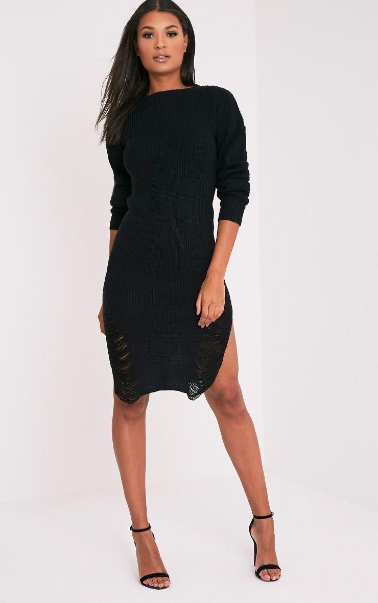 Kionae robe tricotée surdimensionnée effilochée noire 6