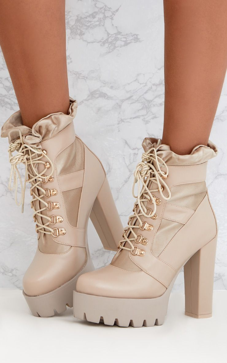 Beige Ruched Lace Up Platform Ankle Boots