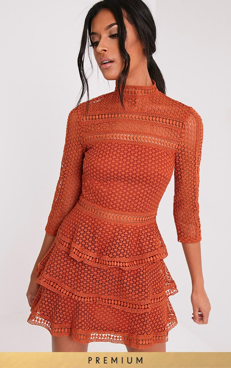 Caya Tobacco Lace Panel Tiered Mini Dress