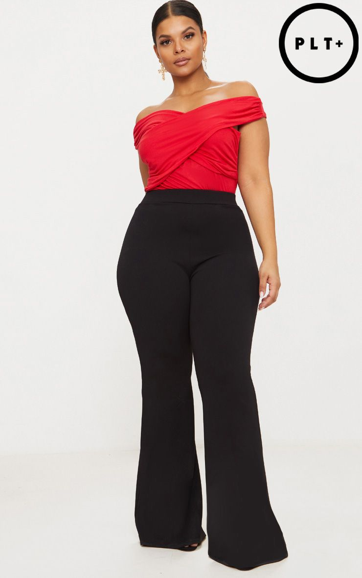 Plus Black Extreme Wide Leg Trousers