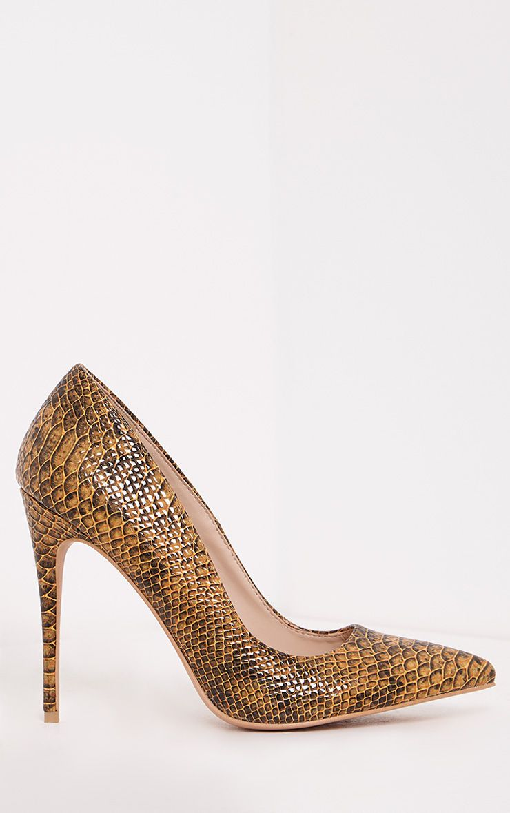 Ellia Tan Faux Snake Skin Pointed Heels