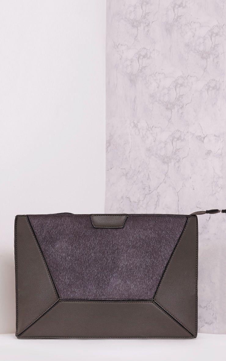 Rolanya Grey Contrast Texture Oversize Clutch