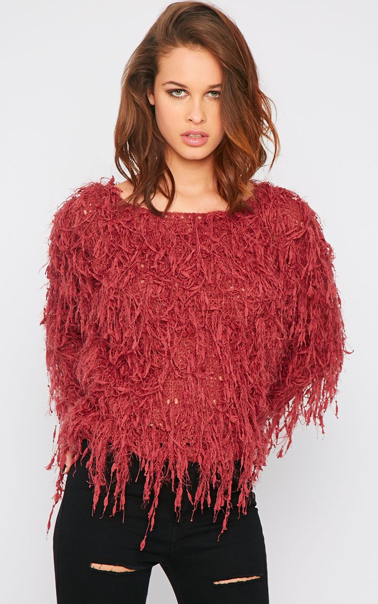 Alvery Wine Shaggy Knit Jumper Red