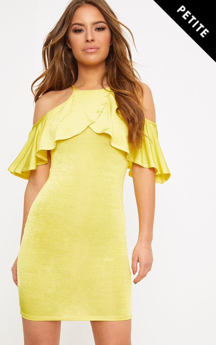 Petite Lemon Slinky Frill Sleeve Mini Dress