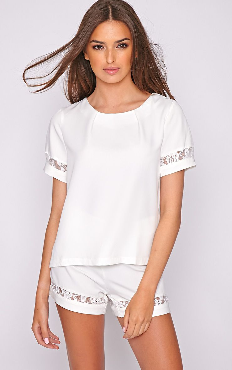 Angelina White Short with Lace Detail  1