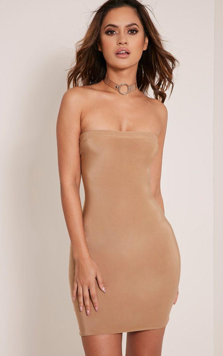 Drita Camel Bandeau Slinky Bodycon Dress 1