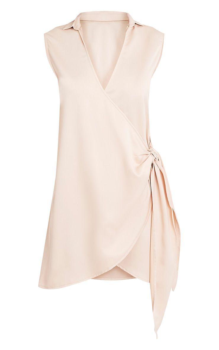 Shaylene robe chemise satinée nouée sur le côté sans manches champagne 3