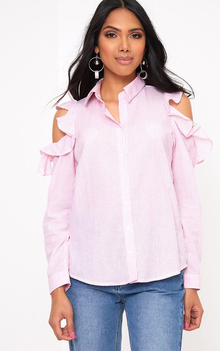 Pink Stripe Cold Shoulder Ruffle Blouse