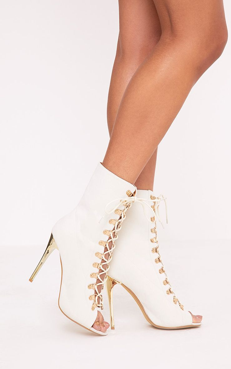 Elina Cream Lace Up Ankle Boots
