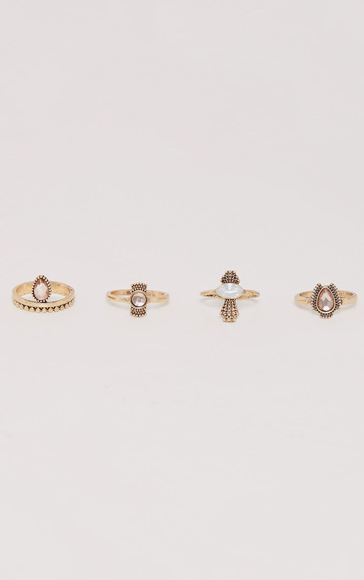Multi Set Gold Pink Stone Rings