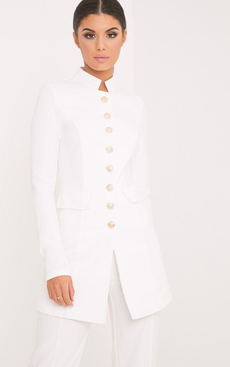 Deleana White Longling Military Style Jacket