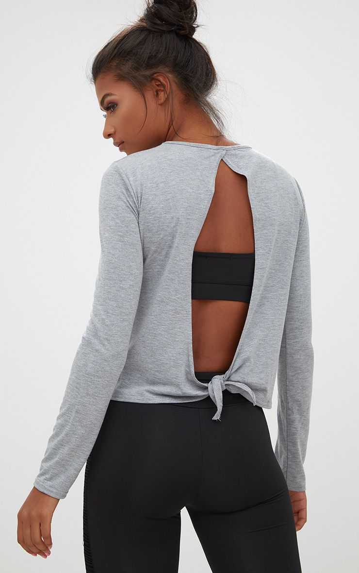 Grey Marl Jersey Long Sleeve Open Back Detail T Shirt