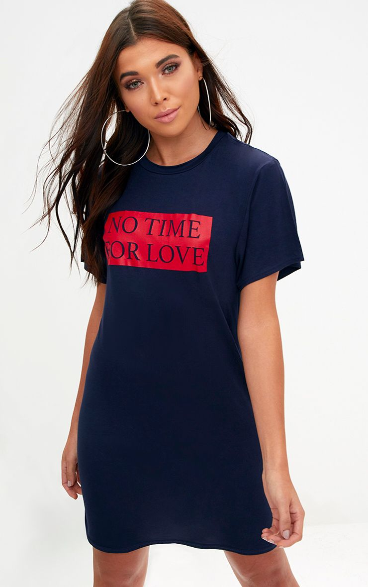 Navy No Time For Love T Shirt Dress