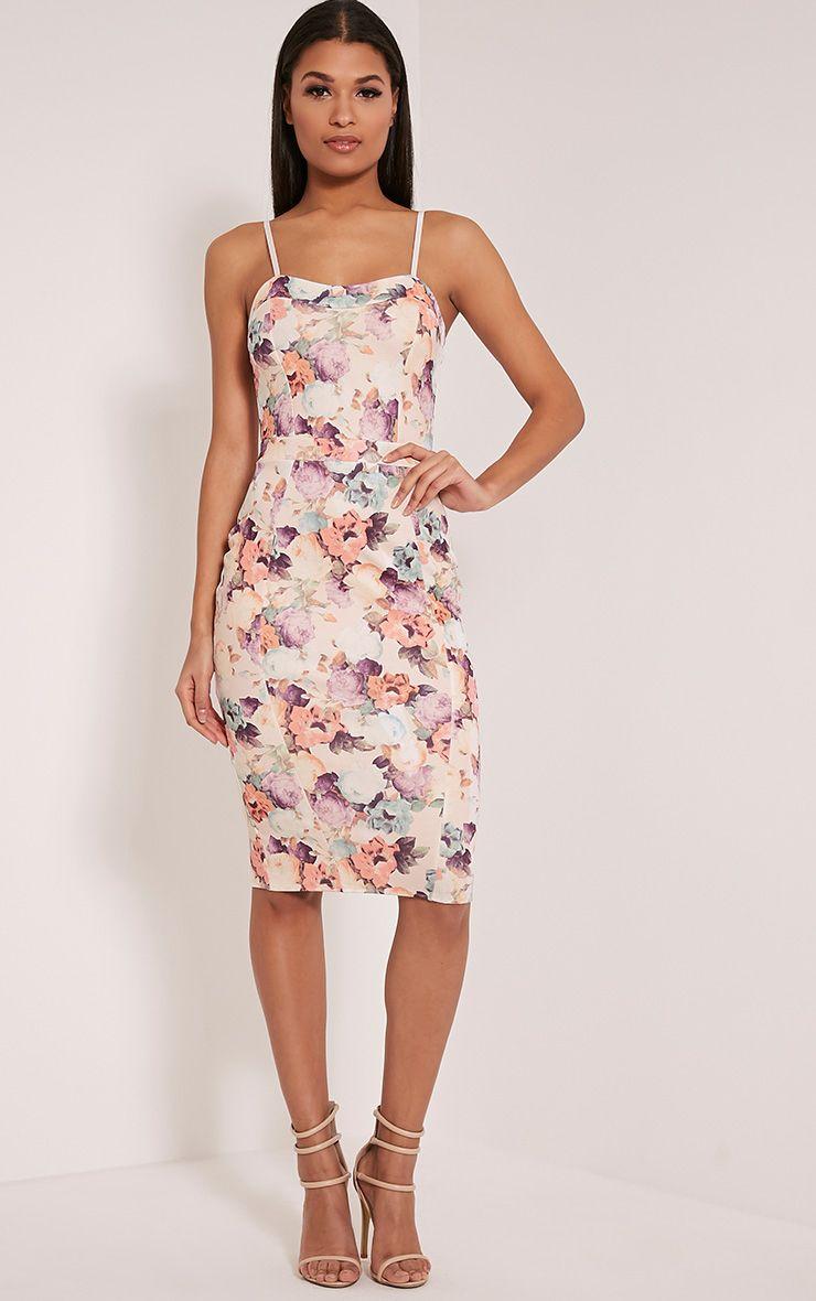 Dinah White Floral Print Strappy Midi Dress 1