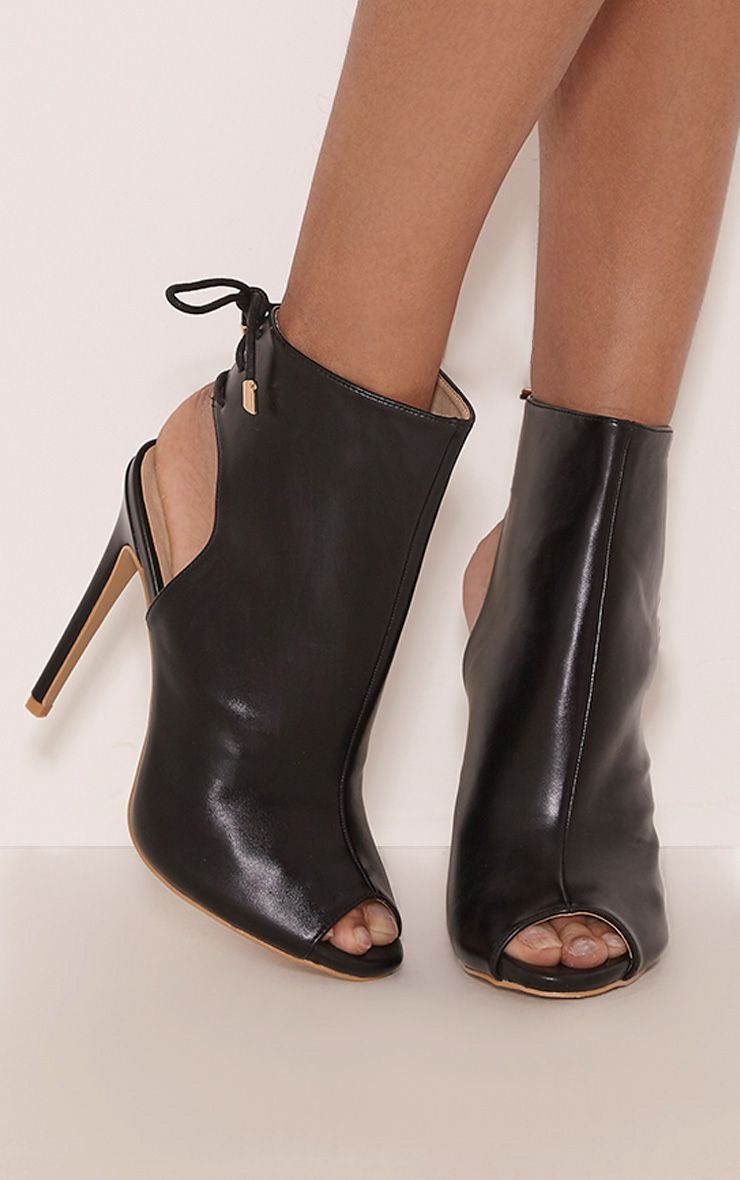 Joni Black Faux Leather Cut Out Peep Toe Ankle Boots