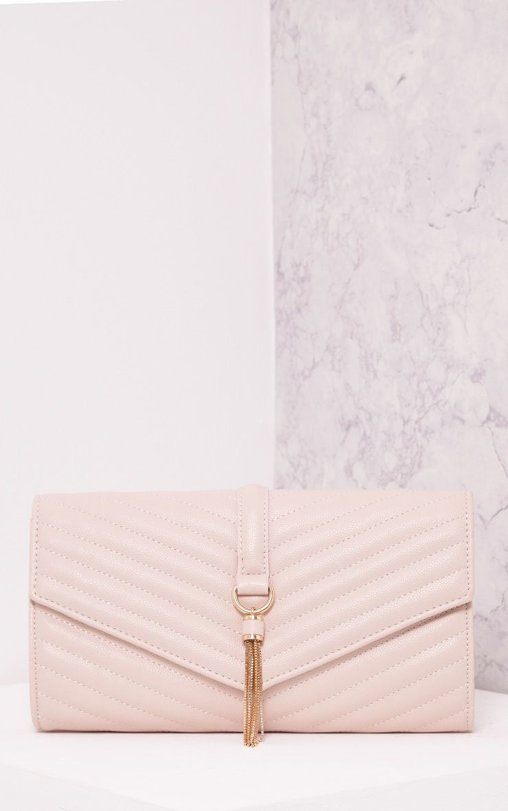 Vandra Nude Chain Tassel Detail Clutch Bag Pink