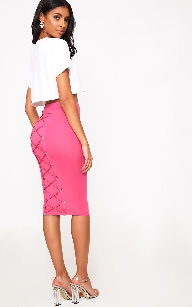 Pink Corset Back Midi Skirt