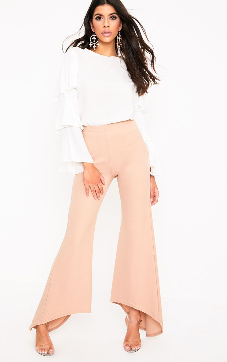 Nude Step Hem Wide Leg Trousers