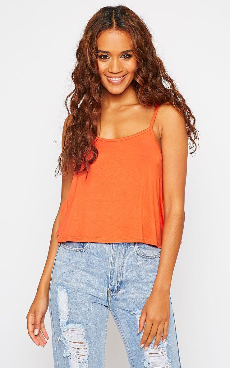Basic Orange Jersey Swing Cami Top 1