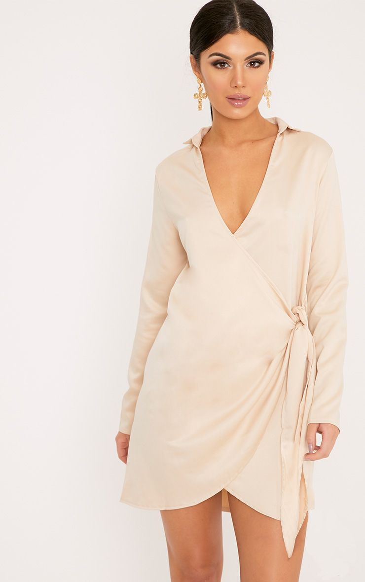 Shaylene Champagne Tie Side Satin Shirt Dress