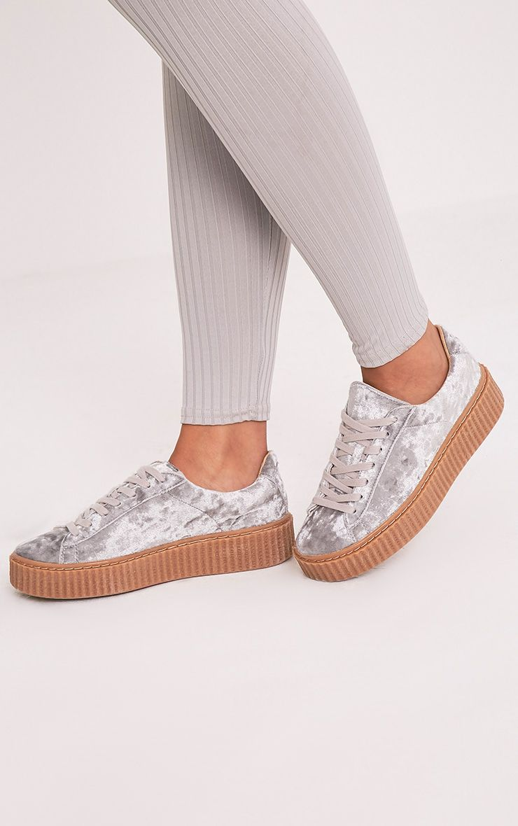 Anahita Grey Crushed Velvet Creeper Trainers