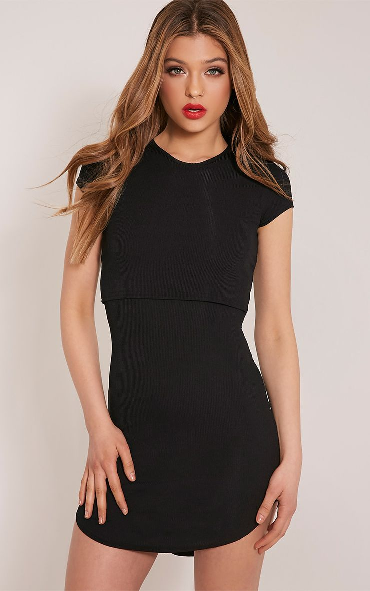 Aleah Black Ribbed Overlay Bodycon Dress 1