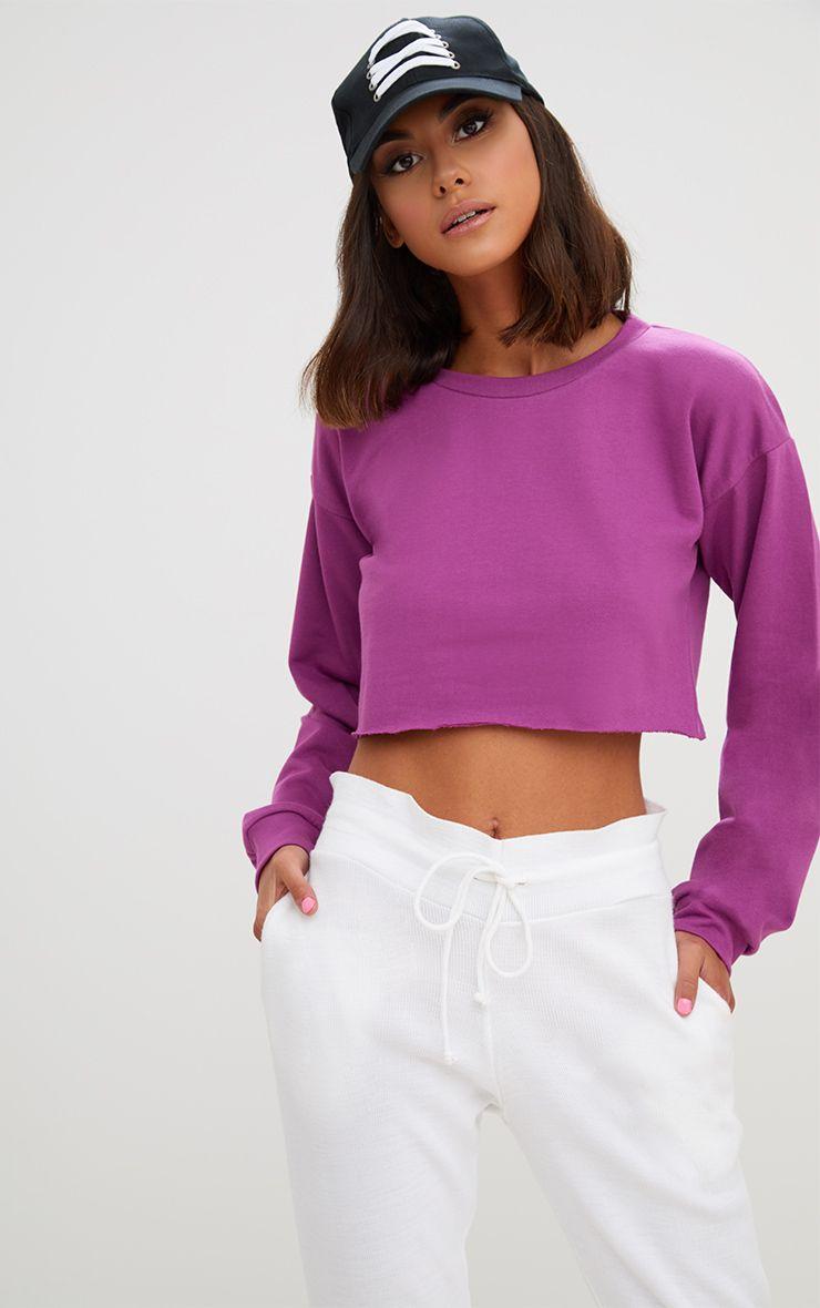 Violet Cut Off Crop Longsleeve Sweater