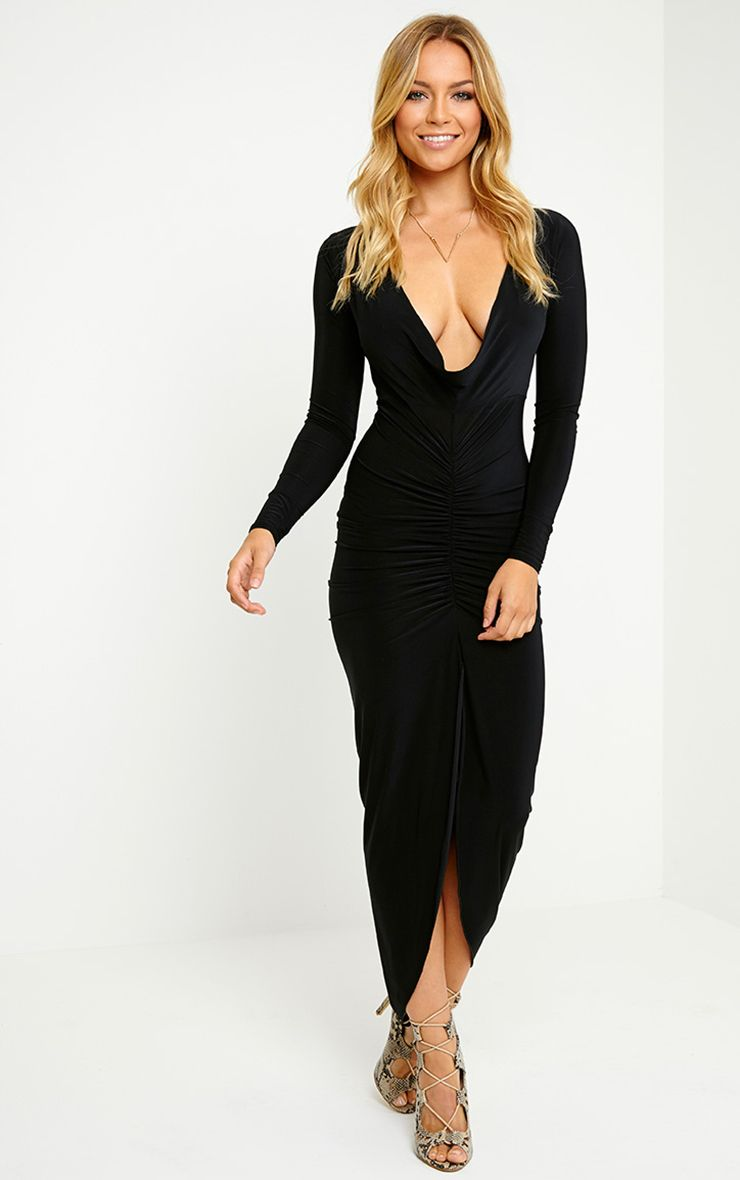 Ellie Black Slinky Ruched Maxi Dress- Dresses ...
