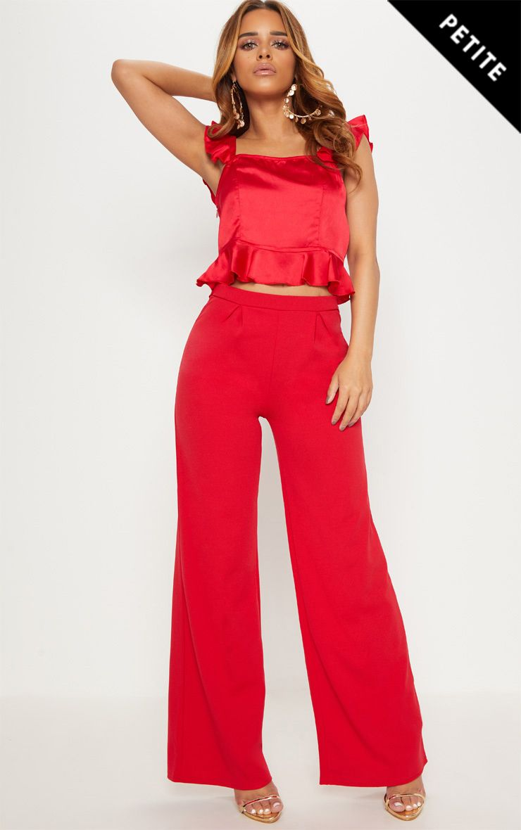 PRETTYLITTLETHING Petite High Waist Wide Leg Trousers Outlet Visa Payment Free Shipping For Nice Discount byMEos