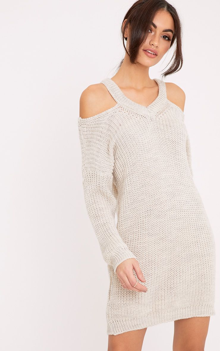 Jacqui Stone Cut Out Detail Knitted Dress